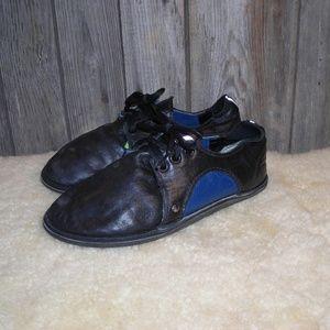 Soft Star womens blue black leather flats oxford 5